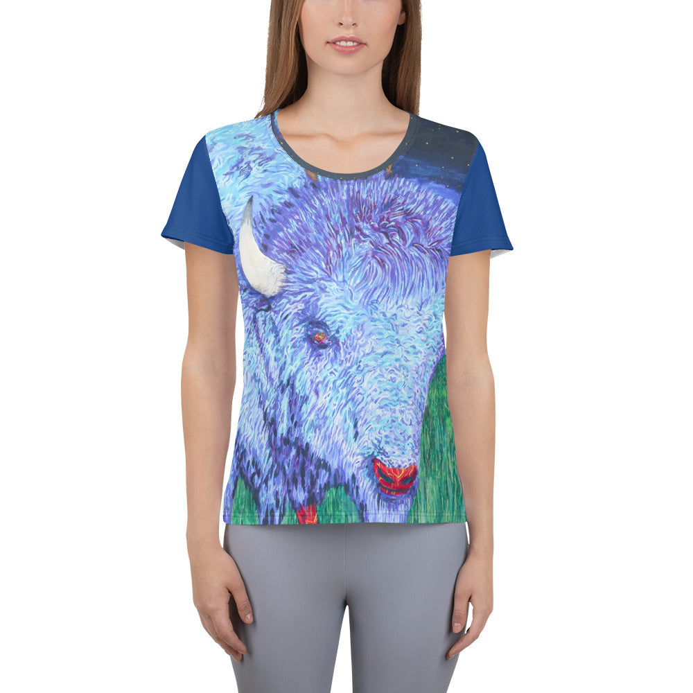 Bison Rider All-Over Women's T-shirt by Kevin Wesaquate