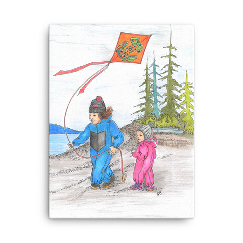 Kite Flying by Lynn Hughan Canvas Print