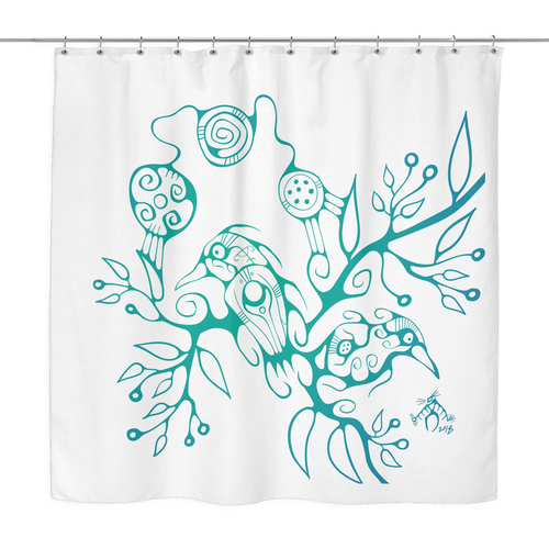 Two Birds Shower Curtain by Miigizi