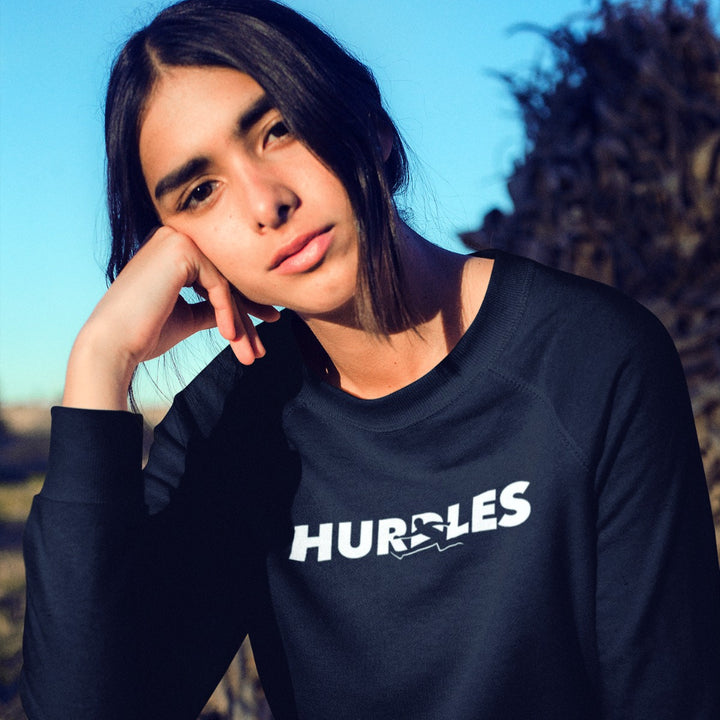 GIRL WEARING HURDLES SWEATSHIRT