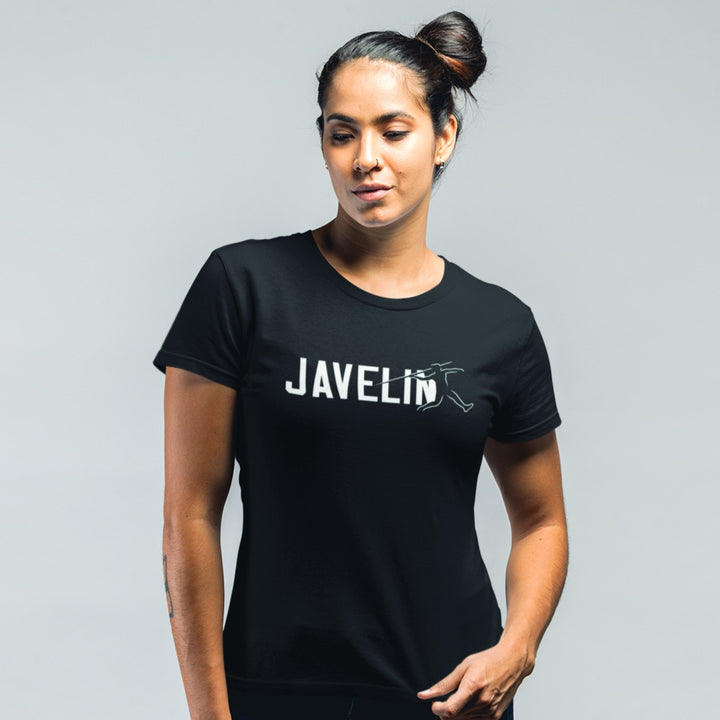STRONG GIRL WEARING JAVELIN T-SHIRT