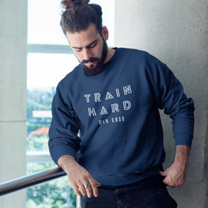 HIPSTER GUY WEARING TRAIN HARD WIN EASY SWEATER
