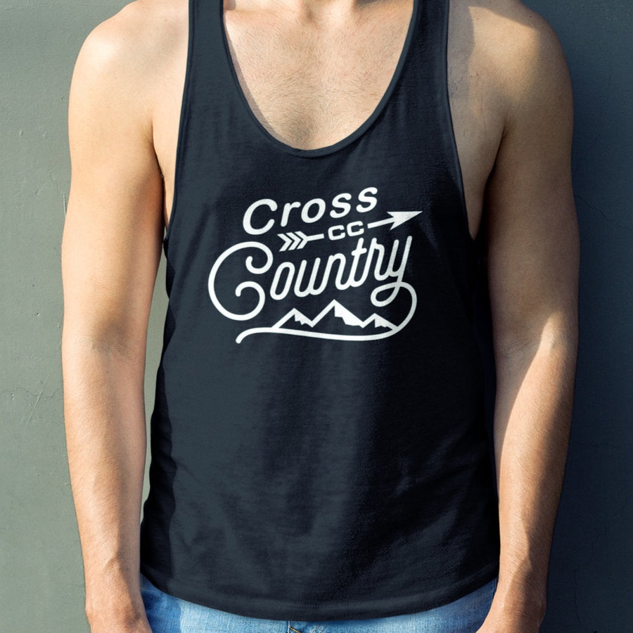 Man Wearing Black Cross Country Tank Top