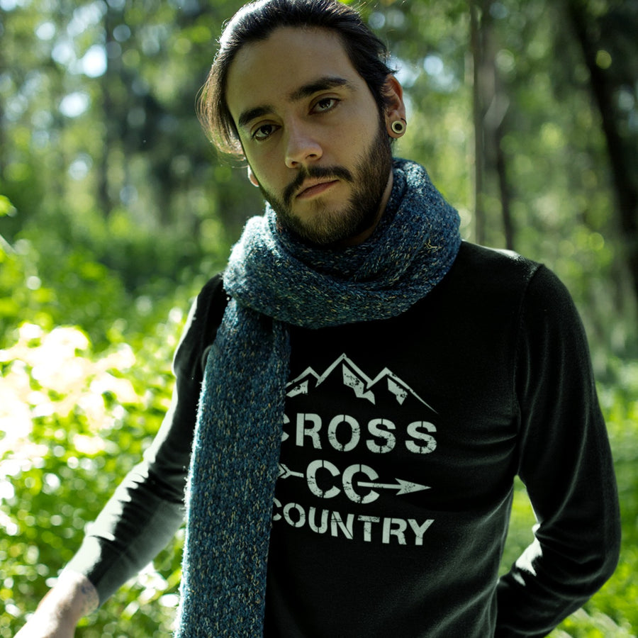 Man Wearing Black Cross Country Sweatshirt