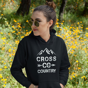 Girl Wearing Cross Country Women's Hoodie in field with flowers