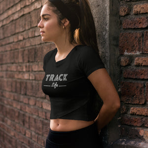 SPORTY GIRL WEARING TRACK LIFE CROP T-SHIRT