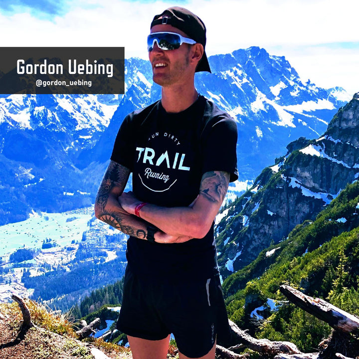 GORDON UEBING WEARING TRAIL RUNNING T-SHIRT