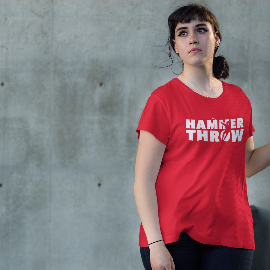 GIRL WEARING HAMMER THROW T-SHIRT