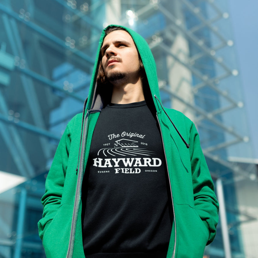 Man at Stadium Wearing Black Hayward Field Men's Sweatshirt