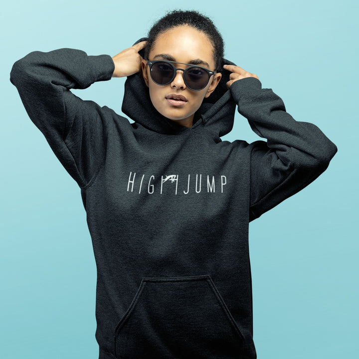 GIRL WEARING HIGH JUMP HOODIE BLACK