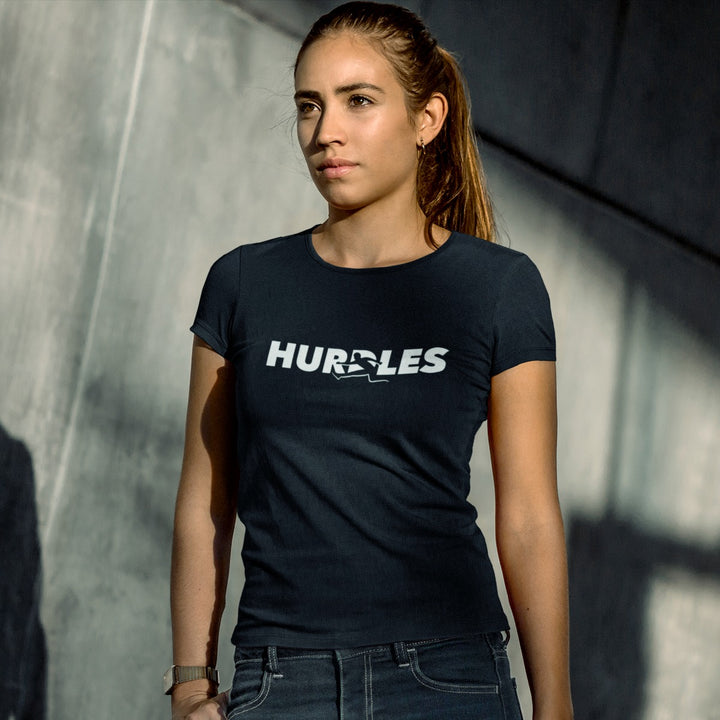 GIRL WEARING HURDLES T-SHIRT