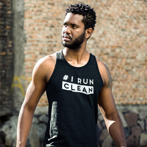 Man Wearing Black I Run Clean Men's Tank Top