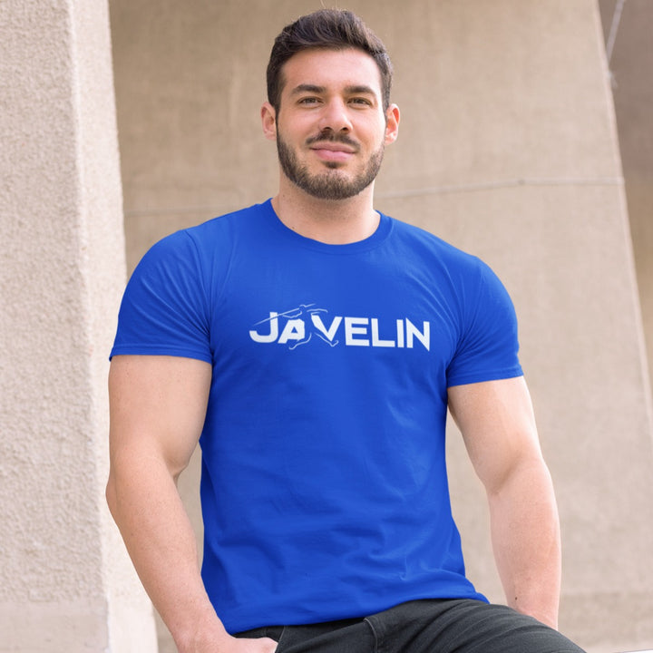 STRONG MAN WEARING JAVELIN T-SHIRT