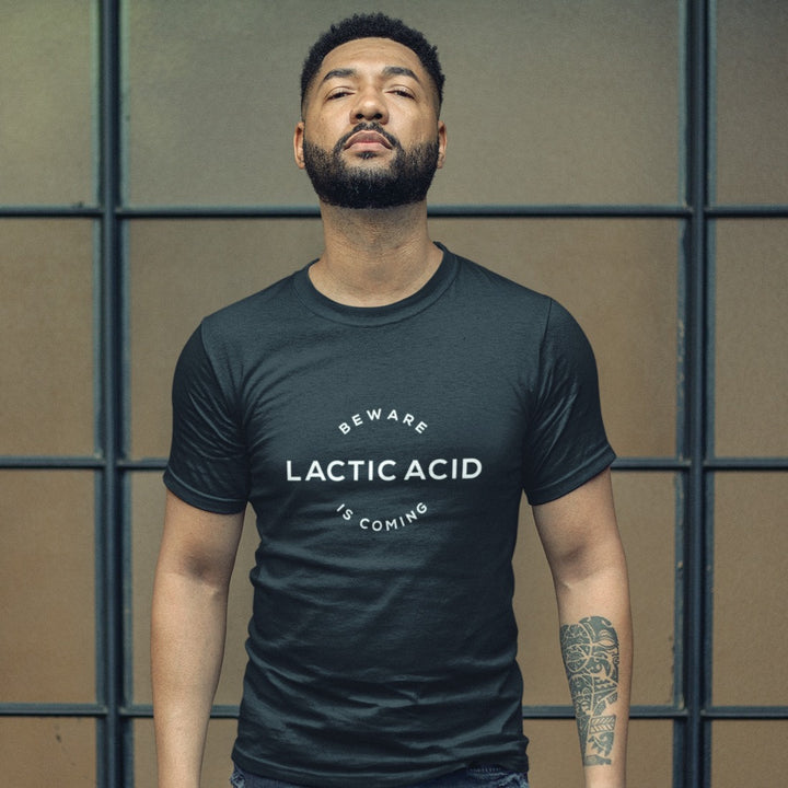 MAN WEARING LACTIC ACID T-SHIRT