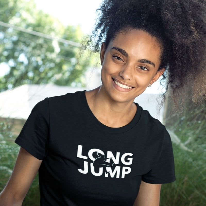 GIRL WEARING LONG JUMP T-SHIRT