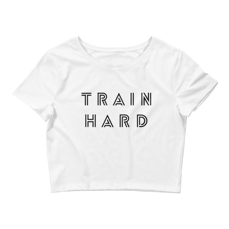 TRAIN HARD WOMEN'S CROP T-SHIRT WHITE