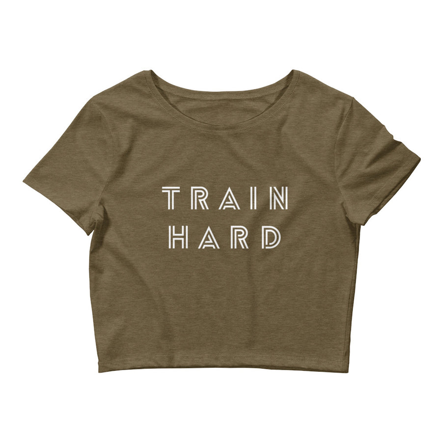 TRAIN HARD WOMEN'S CROP T-SHIRT OLIVE