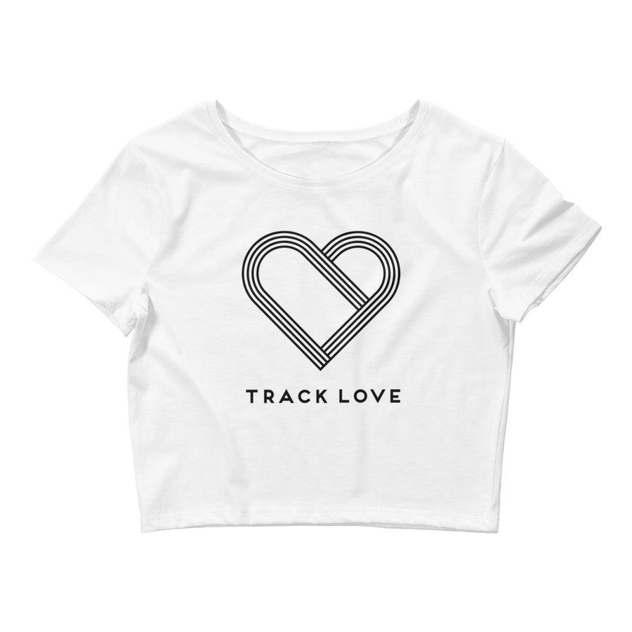 TRACK LOVE WOMEN'S CROP T-SHIRT BLACK WHITE