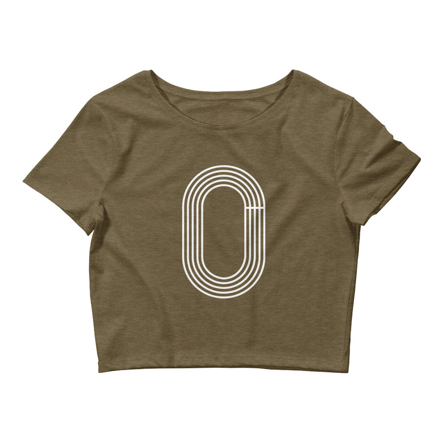 TRACK OUTLINE WOMEN'S CROP T-SHIRT BLACK OLIVE
