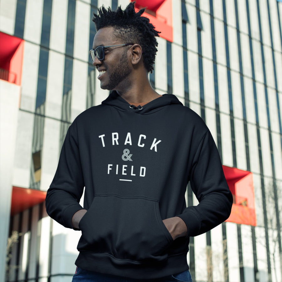 TALL MAN WEARING TRACK & FIELD HOODIE