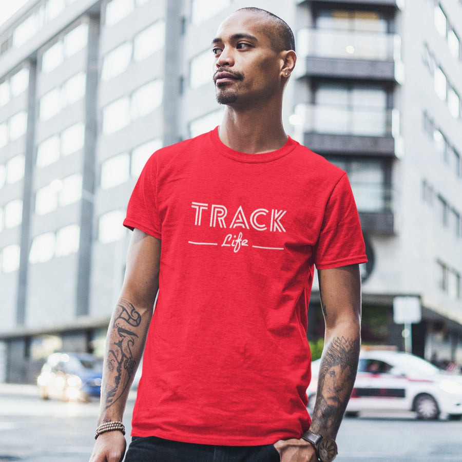 ASIAN MAN WEARING RED TRACK LIFE T-SHIRT