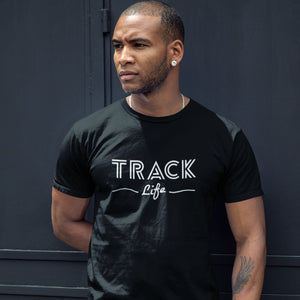 MAN WEARING TRACK LIFE T-SHIRT