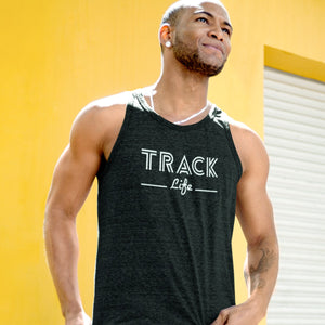 ATHLETIC MAN WEARING TRACK LIFE TANK TOP
