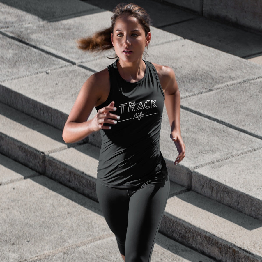 GIRL RUNNING WEARING TRACK LIFE TANK TOP