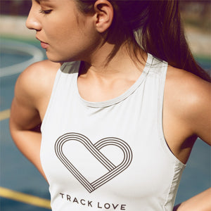 GIRL WEARING PINK TRACK LOVE TANK