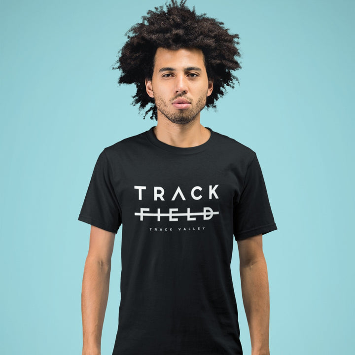 AFRO MAN WEARING TRACK NOT FIELD T-SHIRT
