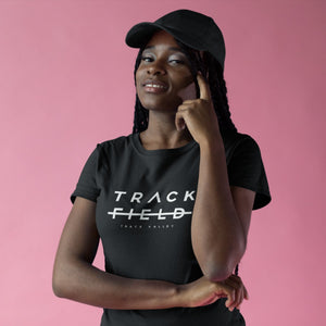 BLACK GIRL WEARING TRACK NOT FIELD T-SHIRT