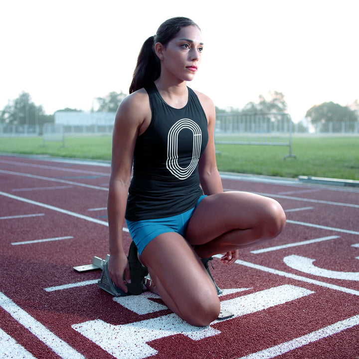 TRACK AND FIELD GIRL IN STARTING BLOCKS WEARING TRACK OUTLINE TANK TOP