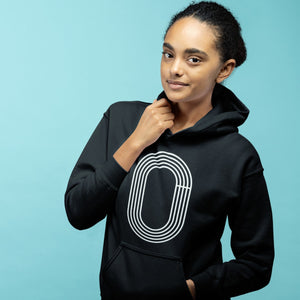 GIRL WEARING TRACK OUTLINE HOODIE