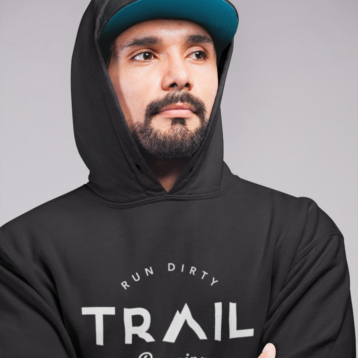 HIPSTER WEARING TRAIL RUNNING HOODIE