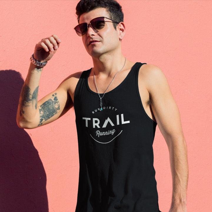 GUY WEARING SUNGLASSES AND TRAIL RUNNING TANK TOP