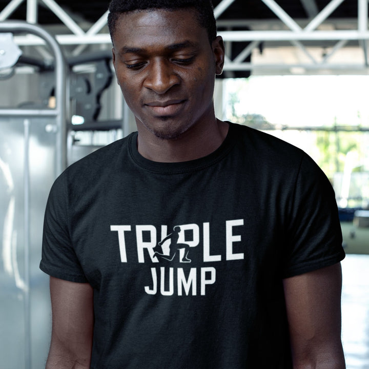 MAN IN GYM WEARING TRIPLE JUMP T-SHIRT
