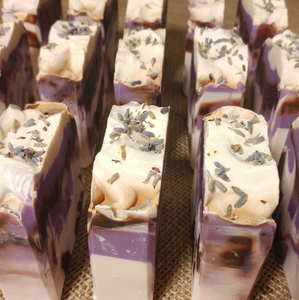 Black Amber and Lavender Cold Processed 4oz Bar Soap - MadeByMiller