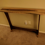 Maple & Walnut Trestle Table with Solid Walnut River Inlay