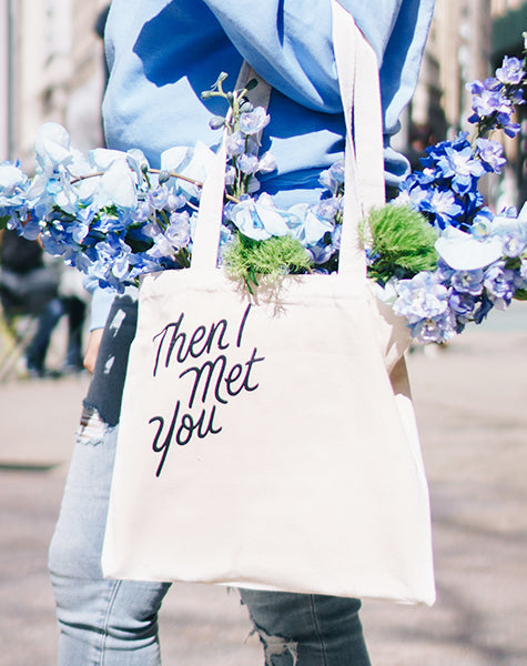 Then I Met You Canvas Tote Bag, Periwinkle blue, skin care
