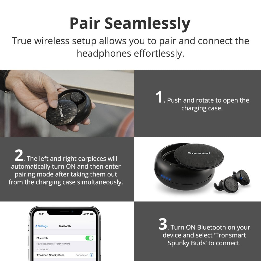 Tronsmart Spunky Buds Bluetooth Earphone TWS Wireless Earphone IPX5  Waterproof Wireless Earbuds with Google Assistant,Siri