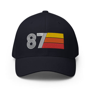 87 1987 fitted baseball cap hat birthday gift for men women retro design