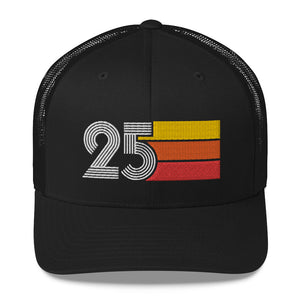 1925 RETRO BIRTHDAY GIFT NUMBER 25 MENS WOMENS TRUCKER HAT