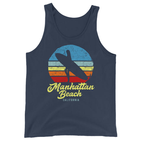 Manhattan Beach California Retro Surf Unisex  Tank Top