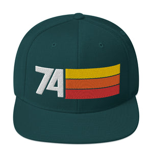 1974 RETRO NUMBER 74 BIRTHDAY REUNION ANNIVERSARY CUSTOM EMBROIDERED SNAPBACK HAT