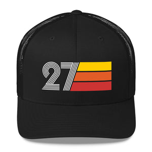 1927 RETRO BIRTHDAY GIFT Number 27 MENS WOMENS TRUCKER Hat