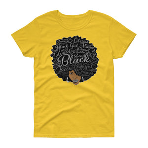 Natural Hair Power in Words Black Girl Magic Women's short sleeve t-shirt ( WBB) - Styleuniversal