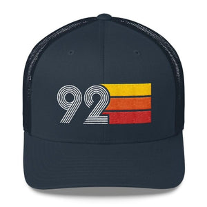 vintage 1992 number 92 retro trucker hat birthday cap decoration party gift navy