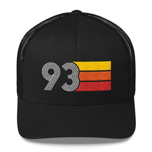 vintage 1993 number 93 retro trucker hat birthday cap decoration party gift black