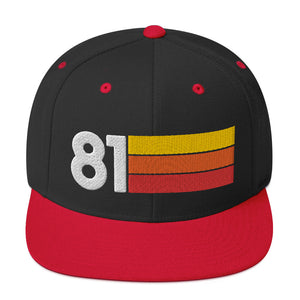 1981 RETRO NUMBER 81 BIRTHDAY REUNION ANNIVERSARY CUSTOM EMBROIDERED SNAPBACK HAT