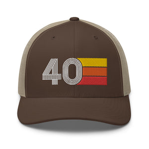 Number 40 Hat - 40th Birthday Gift Trucker Cap Brown/Khaki